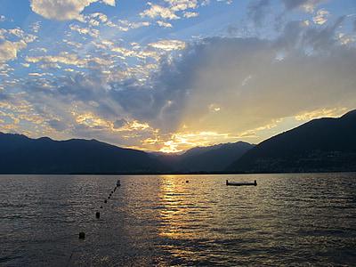 일몰, abendstimmung, 호수, 로맨스
