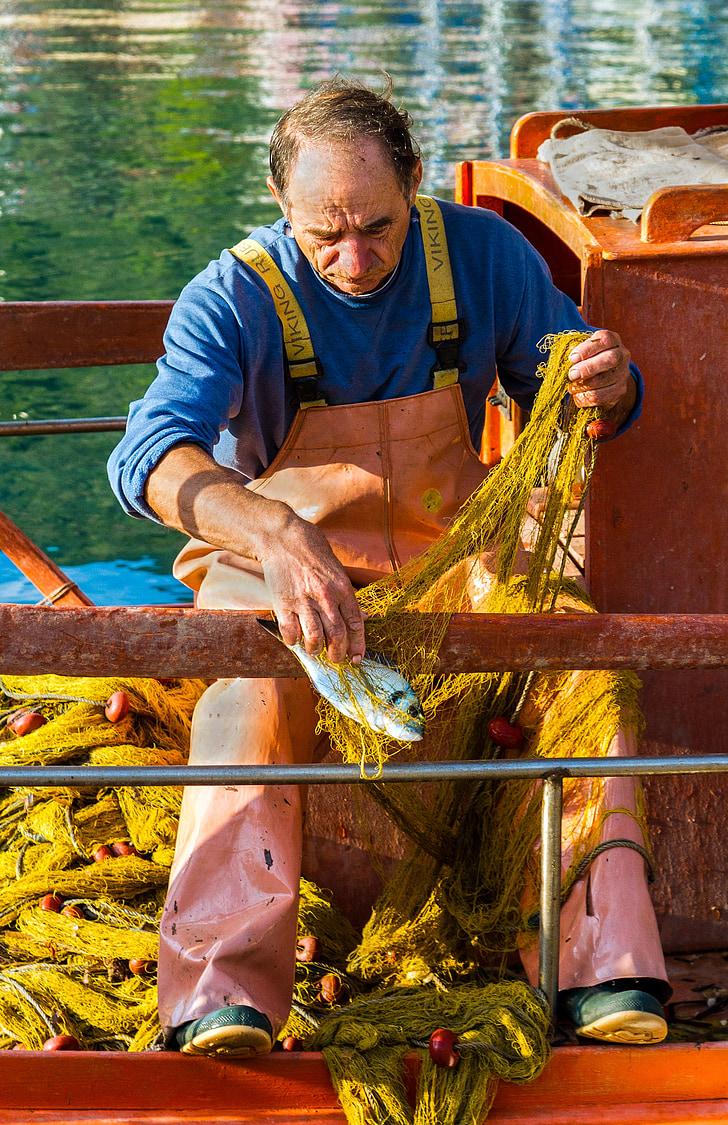 ribar, rad, Sivota, Grčka, čovjek, rad, uhvatiti