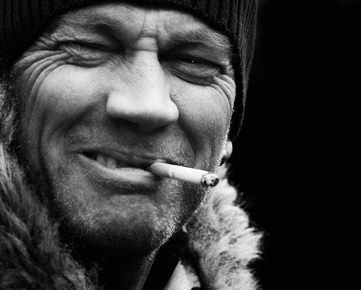 cara masculí, fumar, blanc de negre, home, cigarret