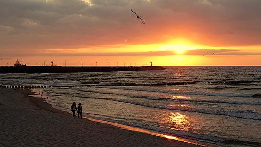 Polija, Kolobrzeg, jūra, Kolobžega, saule un jūra, Baltijas jūrā, pludmale