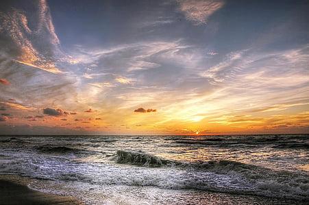 plage, nuages, Côte, aube, tombée de la nuit, soirée, heure d'or