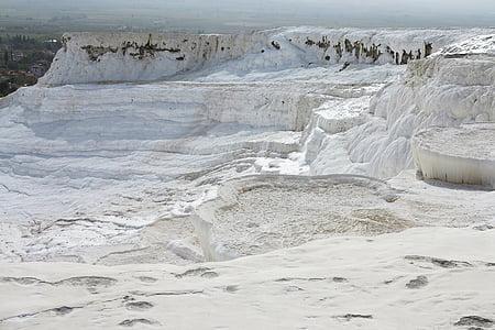 Pamukkale, Turquia, capa de calç, pis de calç, calç, viatges, Terra blanc