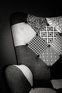 chair, textile, design, furniture, black and white