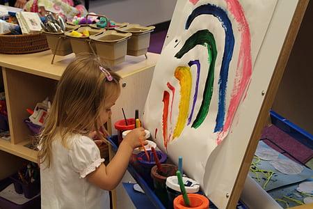 Pelangi, seni, cat, artistik, anak, anak-anak, prasekolah