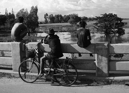 boys, children, watching, river, fishing, childhood, kids playing