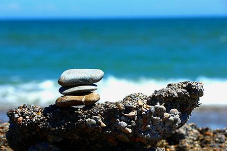 stenarna är, Medelhavet, kustnära, Pebble, stranden, balans, havet