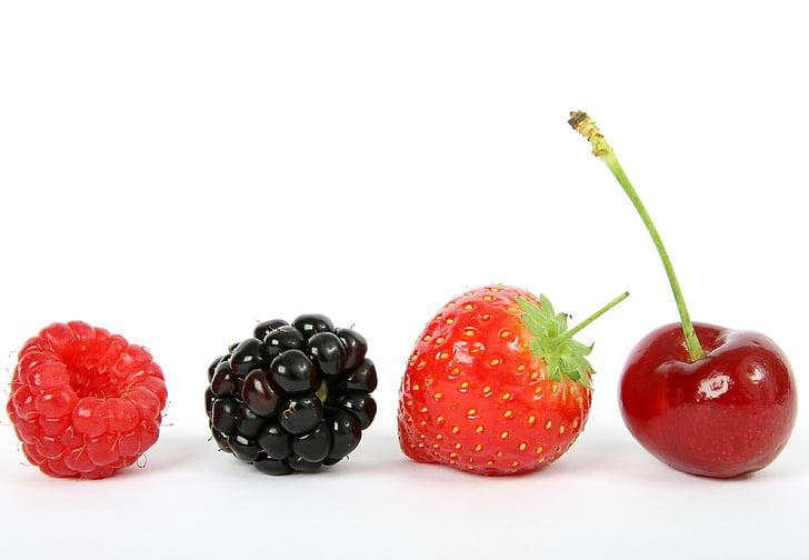 Berry, hitam, BlackBerry, Blueberry, Sarapan, Cherry, closeup