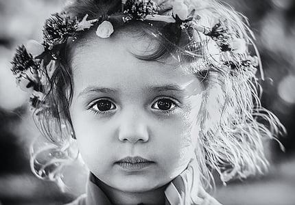 grayscale, photo, child, wearing, flower, headband, boy