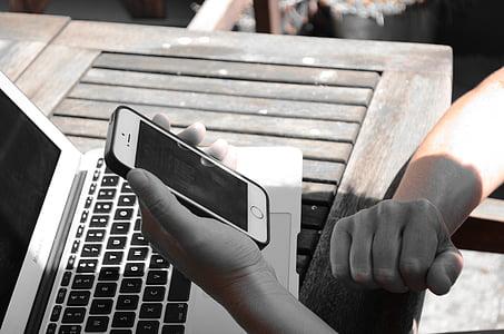 iphone, macbook, computer, woman, hands