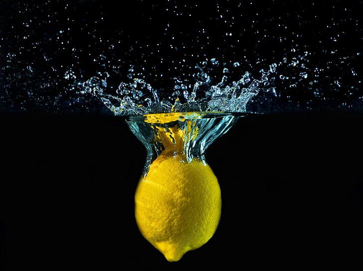 llimona, l'aigua, gotes, moviment, colors, Šplouchanec, groc