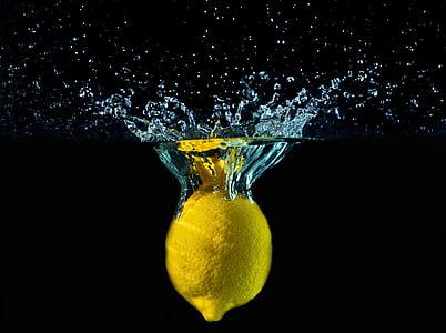 limone, vode, kapljice, gibanje, barve, Šplouchanec, rumena