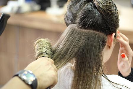 l'escola, cabell, saló, Perruqueria, Saló de pèl, dones, pentinat