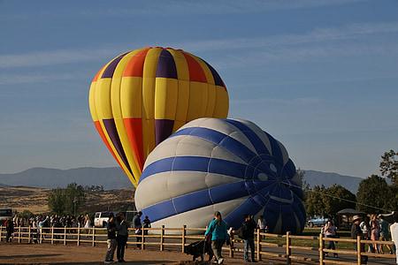 ballonger, varm luft, stigande, Sky, färgglada, flyg, händelse