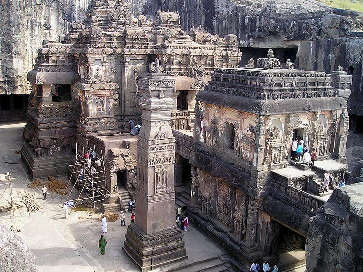 인도, 사원, 신사, 거룩한, 바위, 동굴