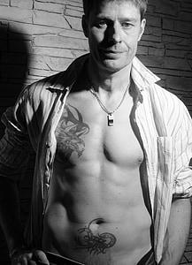 home, Retrat, tatuatges, atractiu, cos, tatuat, músculs