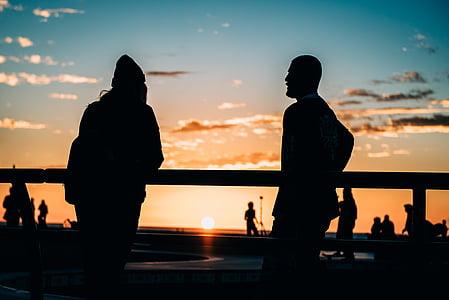 bakgrundsbelyst, Dawn, skymning, personer, siluett, Sky, solen