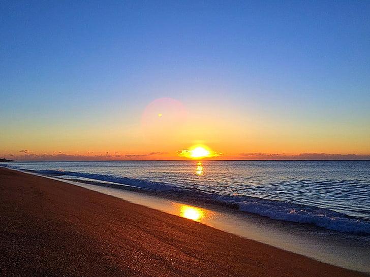 dawn, sun, beach, sand, beauty, sea