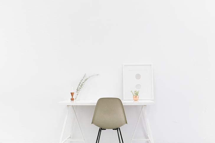 krēsls, iztīriet, rakstāmgalds, interjers, minimāla, minimālisma, istabu
