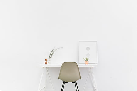 rectangular, white, wooden, table, chair, placed, near