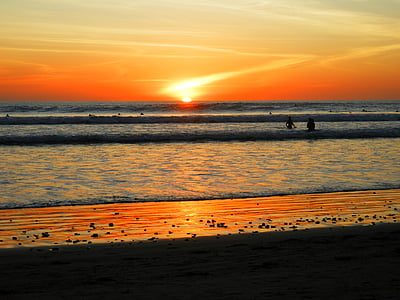 sunset, beach, warm, sand, shore
