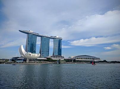 Marina bay, vid vattnet, staden, Bay, stadsbild, Skyline, arkitektur