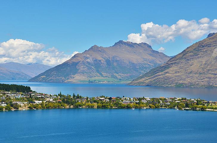 lake, village, the scenery, water, mountain, nature, new zealand