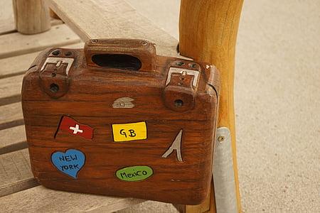 poggyász, fadobozban, színes, barna