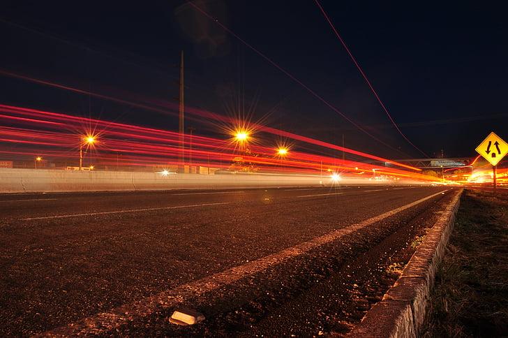 trànsit, nit, carretera, llums, l'autopista, carrer, transport