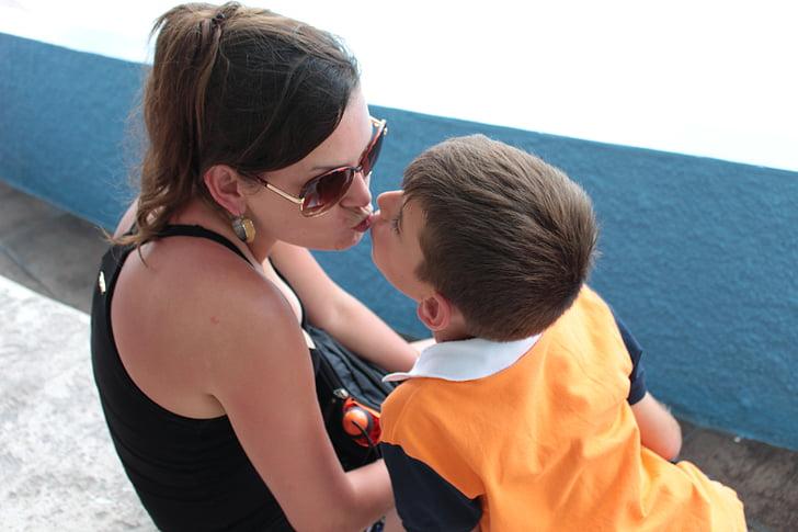 mare, fill, l'amor, petó, nen, noi, pare