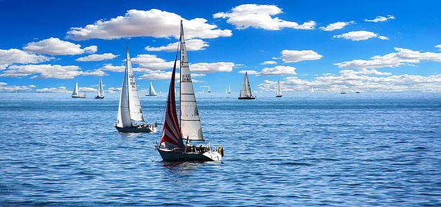 barca a vela, vela, Vacanze, Vacanze, vacanza estiva, Lago di Costanza, avvio
