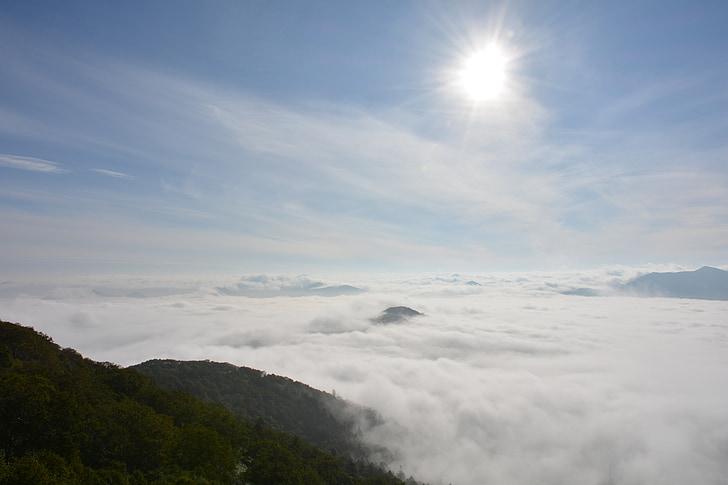 mar de nuvens, terraço, Hokkaido, nuvem, natureza, montanha, ao ar livre