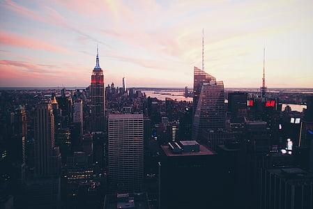 gray, concrete, buildings, sky, building, city, sunset