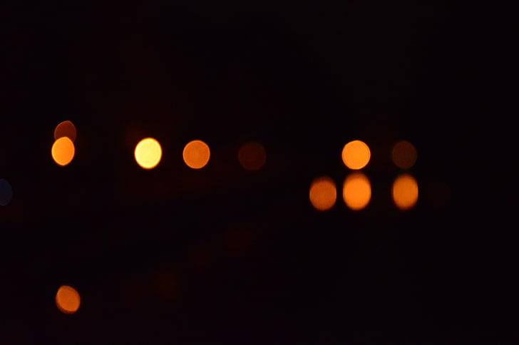 llums, fora de focus, fons, patró de fons, taca d'obertura, taronja, borrosa