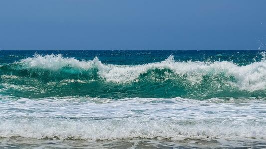 ona, trencant, platja, natura, marí, esquitxades, accident