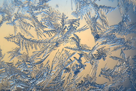snow crystals, winter, frosty, frozen, macro, backgrounds, blue