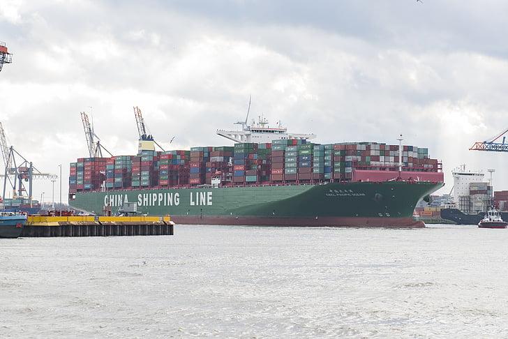 集装箱船, 汉堡港, 集装箱装卸, 集装箱桥货, 集装箱码头, 港口起重机, 集装箱