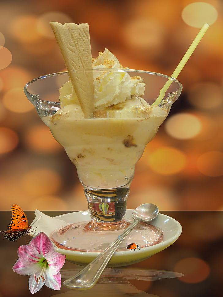 glassen, Ice, Söt, efterrätt, glass, vaniljglass, mat