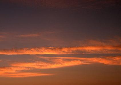maisema, Sunset, oranssi taivas, ilta taivaalle, Luonto, taivas, hämärä