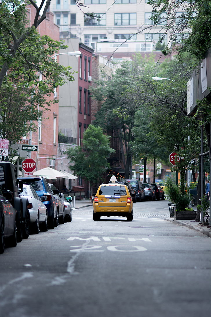 cars, city, road, street, taxi, public domain images, urban Scene