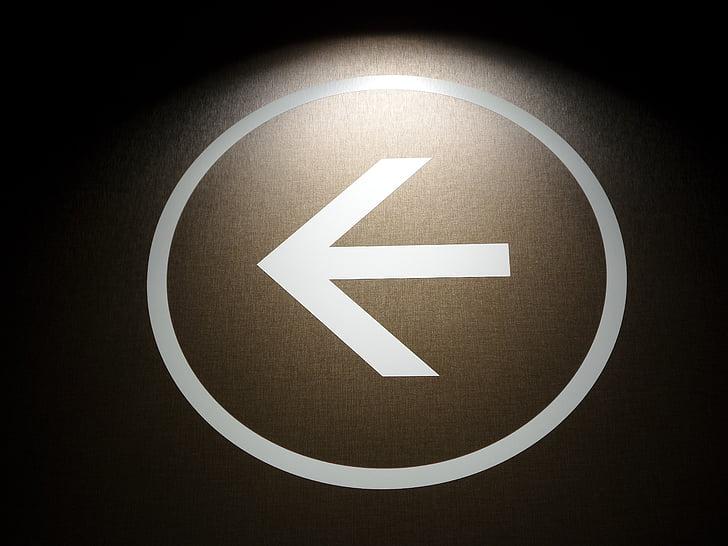 mũi tên, bên trái, đi, chỉ đạo, pictogram, biểu tượng, định hướng