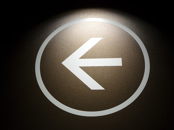 pil, venstre, gå, retning, piktogram, symbol, retningsbestemt