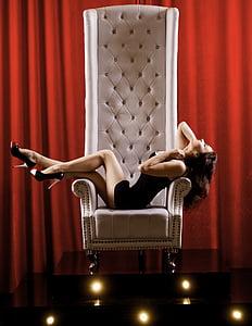 tron, armchair, pedestal, girl, sexy, beautiful, hair