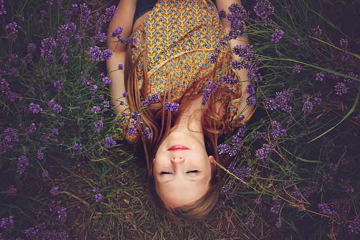 girl, lavender, asleep, happiness, purple, flowers, female