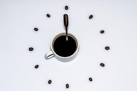 šálka kávy, šálka kávy, kávové zrná, kávová lyžička, Čas, hodiny, prestávka