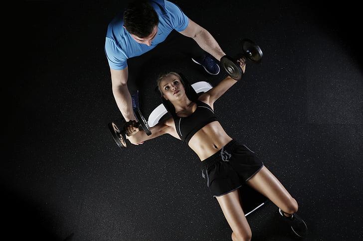 esport, gimnàs, dona, formació, esportiu, femella, tren