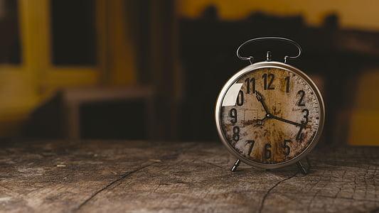 rellotge, rellotge de paret, veure, temps, vell, números, hores