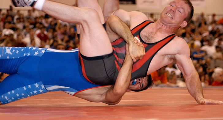 wrestlers, wrestling, competition, grasp, sports, mat, gripping