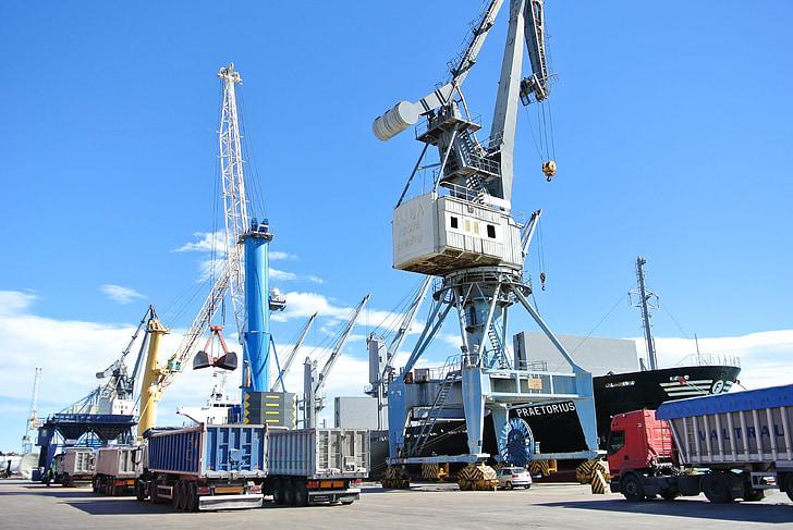fartyg, Ladda, stuvning, Port av sagunto, Crane, lastbil, sjötransporter