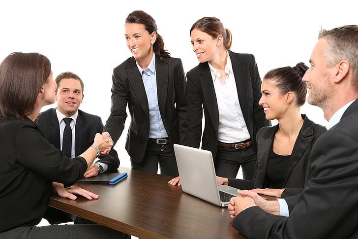 mænd, medarbejdere, passer til, arbejde, hilsen, Business, Office