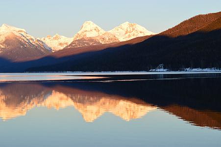 escèniques, paisatge, muntanyes d'apgar, Llac mcdonald, reflexió, colors, Glacera del parc nacional